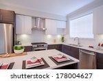 modern kitchen interior with... | Shutterstock . vector #178004627