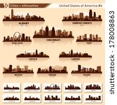 city skyline set. 10 vector