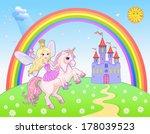 Castle And Rainbow Fairy And...