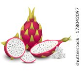 whole dragon fruit  pitaya ... | Shutterstock .eps vector #178042097