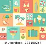 Beach Icons Set. Vector...