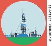 Oil rig flat vector illustration
