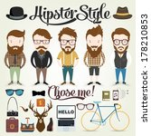 Hipster character illustration in info graphic concept background with hipster elements and icons