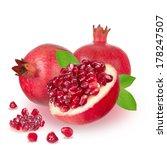 ripe pomegranate on white... | Shutterstock . vector #178247507