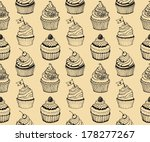 cupcake baking seamless hand...   Shutterstock .eps vector #178277267