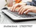businessman  is typing on... | Shutterstock . vector #178297907