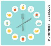Food Icons Infographic Clock....
