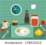 food on the table. vector...