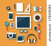 Flat design style modern vector illustration icons set of office various objects and equipment