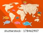 vector paper world map... | Shutterstock .eps vector #178462907