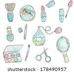 cosmetics watercolor set | Shutterstock . vector #178490957
