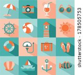 vector set of sea and beach... | Shutterstock .eps vector #178505753