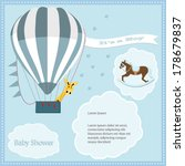baby shower card  for baby boy... | Shutterstock .eps vector #178679837