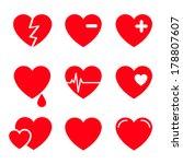 hearts vector icon set | Shutterstock .eps vector #178807607