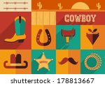 cowboy set of wild west icons...   Shutterstock .eps vector #178813667