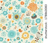 romantic seamless pattern with... | Shutterstock . vector #178863083