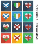 square flat icons with flag... | Shutterstock .eps vector #178867373