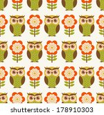 seamless owl cartoon pattern | Shutterstock .eps vector #178910303