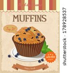 vector blueberry muffin. poster ... | Shutterstock .eps vector #178928537