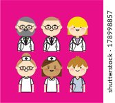 set of cartoon doctor and nurse  | Shutterstock .eps vector #178998857