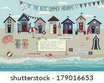 ad,advert,advertisement,background,beach,beach huts,beach line,beach row,beach umbrellas,bunting,bunting flags,cabanas,cabins,coast,copy space