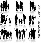 family silhouettes in different ... | Shutterstock .eps vector #17904082