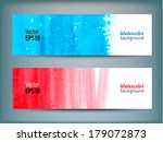 set of banners with watercolor... | Shutterstock .eps vector #179072873