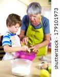 grandson and grandmother having ... | Shutterstock . vector #179101973