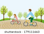 children riding bicycle in the... | Shutterstock .eps vector #179111663