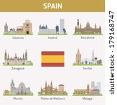 spain. symbols of cities.... | Shutterstock .eps vector #179168747