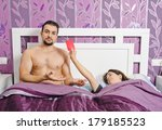 a sleeping woman showing red... | Shutterstock . vector #179185523
