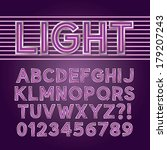 purple neon light alphabet and... | Shutterstock .eps vector #179207243