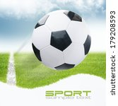 soccer ball on green stadium | Shutterstock . vector #179208593
