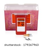 two filled sharps containers....   Shutterstock . vector #179267963
