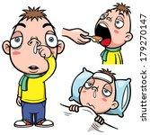 vector illustration of sick boy ... | Shutterstock .eps vector #179270147