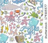 seamless summer sea animals... | Shutterstock .eps vector #179305577