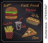 fast food menu on chalkboard | Shutterstock .eps vector #179354567