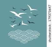 Seagulls And Waves Print