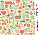 seamless pattern with spring... | Shutterstock .eps vector #179374283