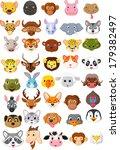 cartoon animal head collection... | Shutterstock . vector #179382497