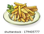 10,art,cartoon,delicious,dinner,eps,food,french,fries,greasy,lunch,oil,plate,potatoes,snack