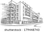 Architecture. Sketch. Drawing of building.City | Shutterstock vector #179448743
