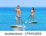 paddleboard beach people on... | Shutterstock . vector #179451803