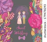 sweet wedding card in bright...