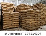 hemp sacks containing rice  | Shutterstock . vector #179614307