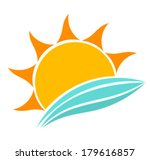 sun and sea waves icon. vector...