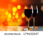 Glasses With Red Wine On Glass...
