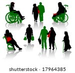 silhouette of old people and... | Shutterstock .eps vector #17964385