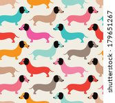 Seamless retro style dachshund puppy pattern illustration background in vector - stock vector