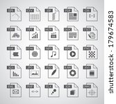 File type icon set  on gray background
